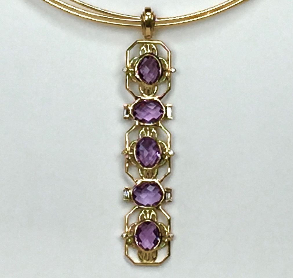 14k gold, Lady Ellen, Amethyst and diamonds PN012